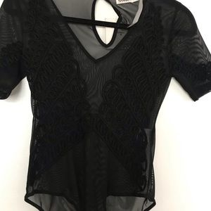 LF black sheer body suit